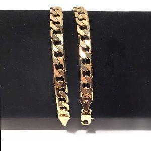 14K Gold Plated Cuban Link Chain Bracelet